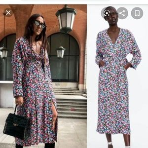 Zara floral Print belted maxi dresd